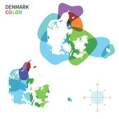 Abstract vector color map of Denmark with transparent paint effect. — Cтоковый вектор