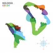 Abstract vector color map of Moldova with transparent paint effect. — Stock Vector