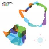 Abstract vector color map of Zimbabwe with transparent paint effect. — Stock Vector