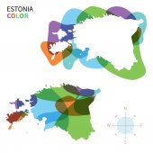 Abstract vector color map of Estonia with transparent paint effect. — Stock Vector
