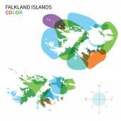 Abstract vector color map of Falkland Islands with transparent paint effect. — Stock Vector