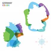 Abstract vector color map of Germany with transparent paint effect. — Stock Vector