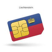 Liechtenstein mobile phone sim card with flag. — Stock Vector