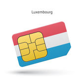 Luxembourg mobile phone sim card with flag. — Stock Vector
