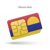 Palmyra Atoll mobile phone sim card with flag. — Stock Vector