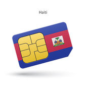 Haïti mobiele telefoon simkaart met vlag. — Stockvector