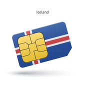Iceland mobile phone sim card with flag. — Stock Vector