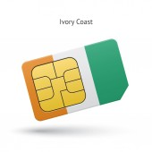 Ivory Coast mobile phone sim card with flag. — Stock Vector