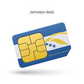Johnston Atoll mobile phone sim card with flag. — Stock Vector