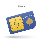 Kosovo mobile phone sim card with flag. — Stock Vector