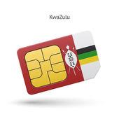 KwaZulu mobile phone sim card with flag. — Stock Vector