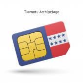 Tuamotu Archipelago phone sim card with flag. — Stock Vector