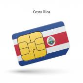 Costa Rica mobile phone sim card with flag. — Stock Vector