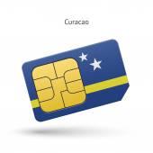 Curacao mobile phone sim card with flag. — Wektor stockowy