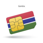 Gambia mobiltelefon Sim-kortet med flagga. — Stockvektor