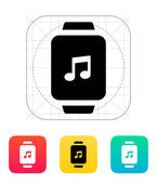 Music on smart watch icon. — Stock Vector