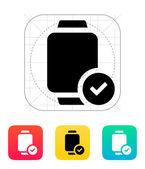 Accept sign on smart watch icon. — Vetor de Stock