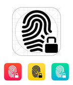 Fingerprint and thumbprint with lock icon. — Stock Vector
