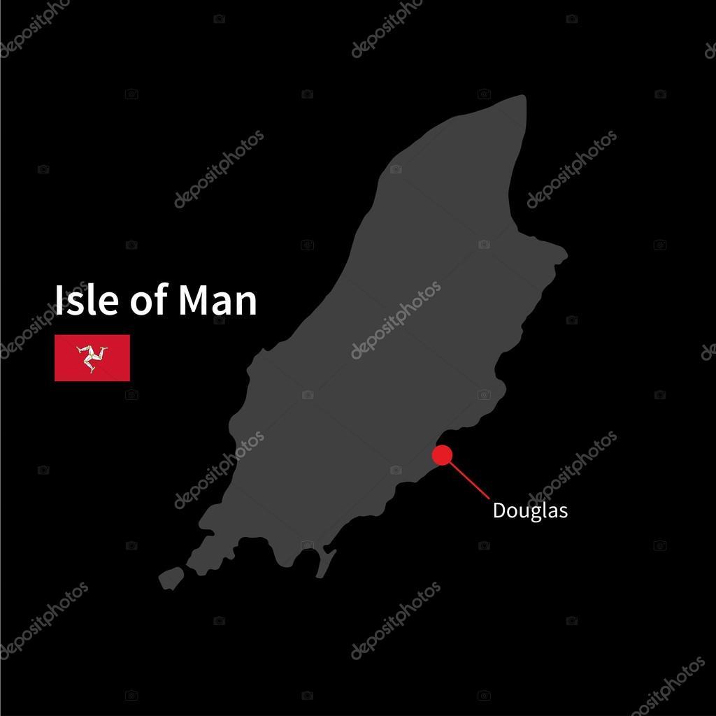 详细的地图,马恩岛和首都道格拉斯与黑色背景上的