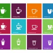 Coffee cup and Tea mug icons on color background. — Stock Vector #69008579