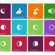 Full moon phases icons on color background. — 图库矢量图片 #69015817
