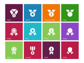 Cup and medal icons on color background. — Stock Vector