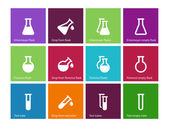 Chemical laboratory flask icons on color background. — Vector de stock