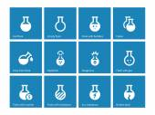 Laboratory glass icons on blue background. — Stock Vector