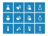 Test tube and flask icons on blue background. — Stock Vector