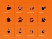 Coffee mug icons on orange background. — Stock Vector