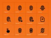 Security finger print icons on orange background. — Stock Vector