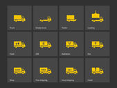 Cargo delivery trucks icons. — Stock Vector