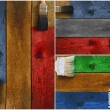 Collage of paintbrushes staining timber — Stock Photo #53876593