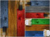Collage of paintbrushes staining timber — Stock Photo