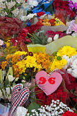 Liverpool, UK, April 15 2014 - Flowers laid to commemorate the 2 — Stock Photo