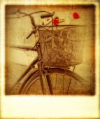 Old vintage effect instant photo of bicycle — Foto de Stock