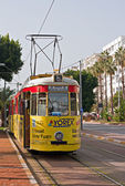 Old nostalgic public transport tram in Antalya Turkey — Stock Photo