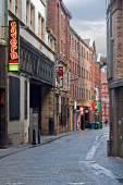 Mathew Street, Liverpool, UK, home of the Cavern Club — Stock Photo
