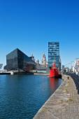 View of Liverpool's historic waterfront, with modern and old architecture. — Stock Photo