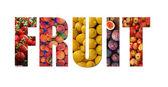 Colorful ripe fruit inside text on white backround — Stock Photo