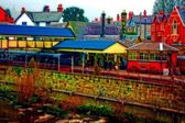 A digitally converted painting of Llangollen railway station North Wales UK — Foto de Stock