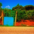 A digitally converted painting of  an entrance to a peach orchard — Stock Photo #66946213