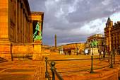 A digitally converted painting of St Georges Hall in Liverpool UK — Stock Photo