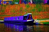A digitally converted painting of a canal barge in Llangollen North Wales — Stok fotoğraf