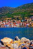 Digital painting of the port of Vathy on Samos Greece — Stock Photo