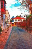 A digitally constructed painting of cobbled back streets of Kaleici in Antalya Turkey — Stock Photo
