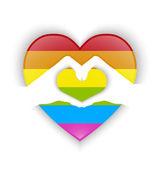 Srdce tvar konstrukce s gay vlajky a efekt stínu — Stock vektor