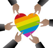 Hands people used to point the gay flag on heart shape — Stock Vector
