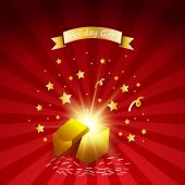 Open magic gift with fireworks from light effect  .Holiday gift greeting card — 图库矢量图片