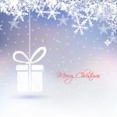 Abstract Christmas greeting card with gift box ,snowflakes,star on frozen background — 图库矢量图片